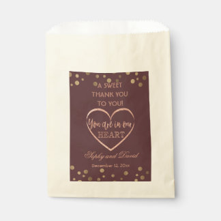 Rose Gold Glitter  Burgundy THANK YOU Wedding Favour Bags