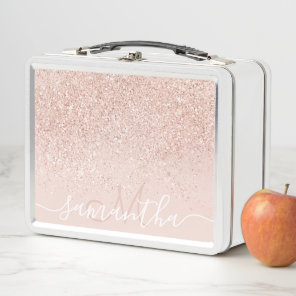 Rose gold glitter confetti pastel blush monogram metal lunch box