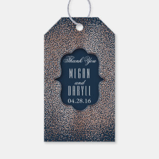 Rose Gold Glitter Confetti Vintage Navy Wedding Gift Tags