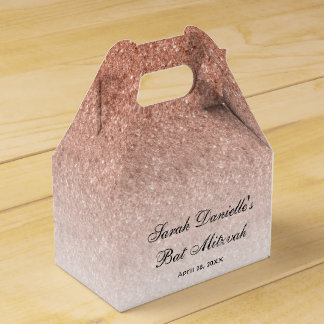 Rose Gold Glitter Custom Favor Favour Box