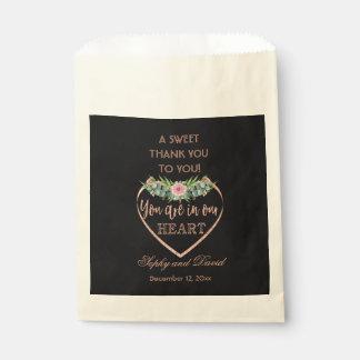 Rose Gold Glitter  Eucalyptus THANK YOU Wedding Favour Bags