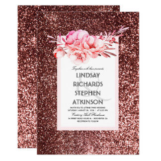 Rose Gold Glitter Fabulous Chic Vintage Wedding Card
