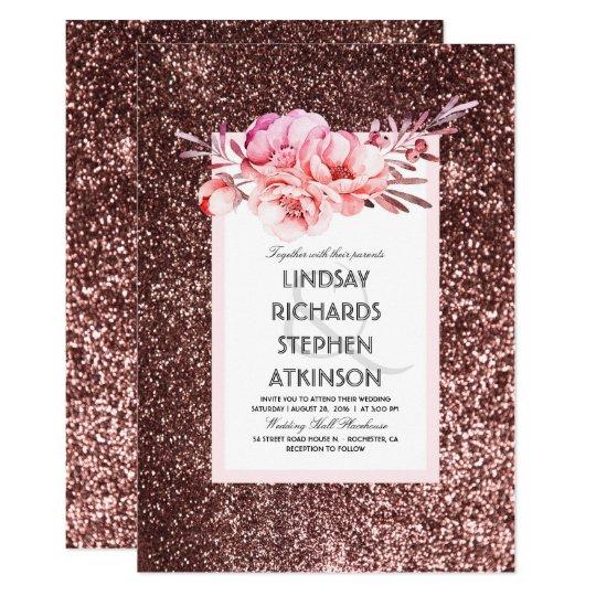 Rose Gold Glitter Fabulous Chic Vintage Wedding Card