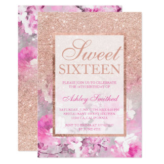 Rose gold glitter floral purple pastel Sweet 16 Card