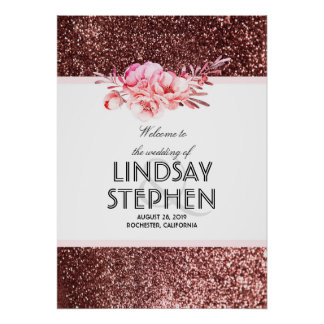 Rose Gold Glitter Floral Vintage Wedding Welcome Poster
