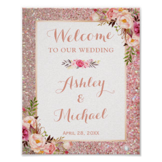 Rose Gold Glitter Floral Wedding Welcome Sign