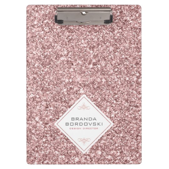 Rose-gold Glitter & Geometric White Shape Clipboards