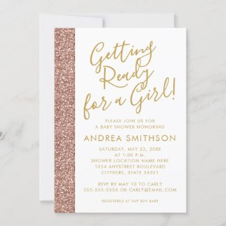 Rose Gold Glitter Girl Baby Shower Invitation