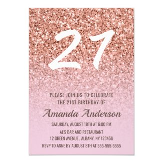 Rose Gold Glitter Girly 21st Birthday Invitation