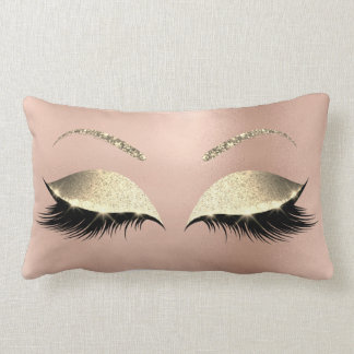 Rose Gold Glitter Glam Makeup Lashes Sleep Lumbar Cushion