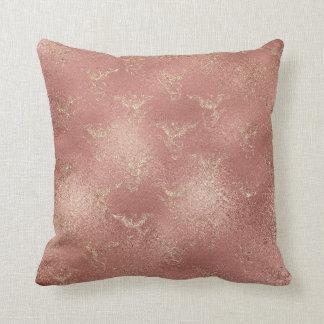 Rose Gold Glitter Glam Sparkle Fenix Heraldic Throw Pillow