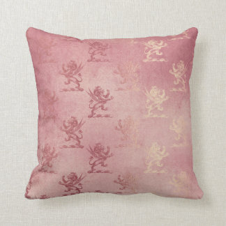 Rose Gold Glitter Glam Sparkle Lions Heraldic Throw Pillow