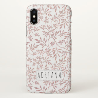 Rose gold glitter leaves pattern with name iPhone x case