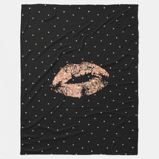 Rose-gold glitter lips & dots pattern fleece blanket