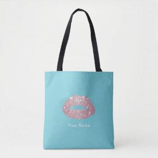 Rose Gold Glitter Lips Elegant Robin Egg Blue Tote Bag