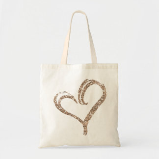 Rose Gold Glitter Love Heart Modern Wedding Tote Budget Tote Bag