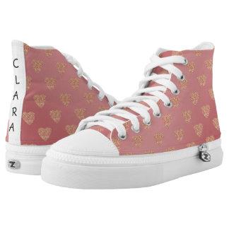 rose gold glitter love hearts polka dots pattern high tops