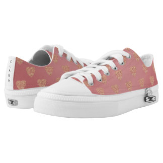 rose gold glitter love hearts polka dots pattern low tops