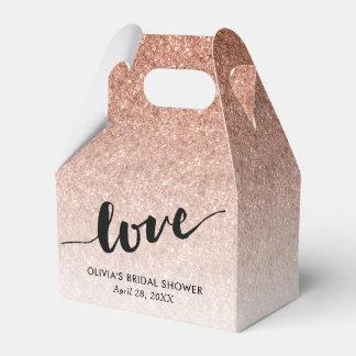Rose Gold Glitter Love in Script Custom Favour Box