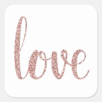 Rose gold glitter love stickers