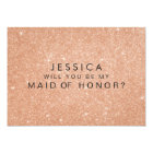 Rose Gold Glitter Maid of Honour Request Cards