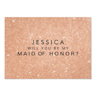 Rose Gold Glitter Maid of Honour Request Cards 13 Cm X 18 Cm Invitation Card