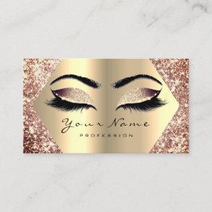 46f229de64a Rose Gold Glitter Makeup Artist Lashes Champaigne Business Card