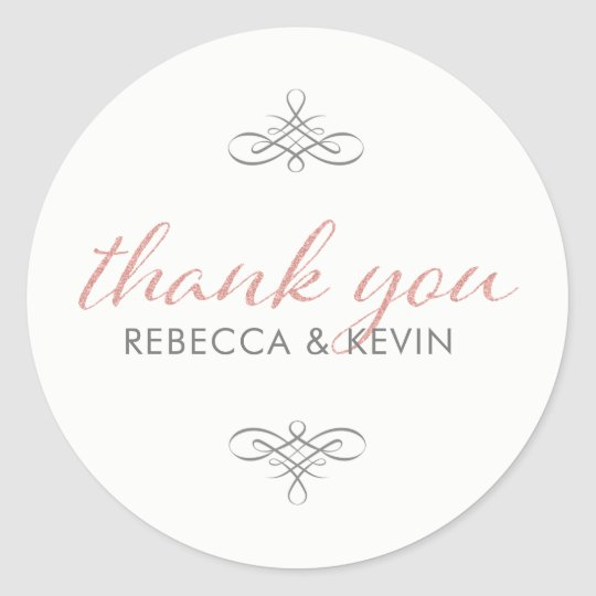 Rose Gold Glitter Modern TypographyThank You Classic Round