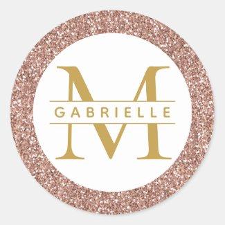 Rose Gold Glitter Monogram Favour Sticker Label