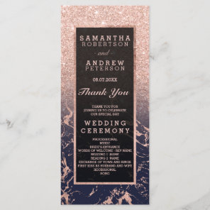 Rose gold glitter navy marble wedding program programme