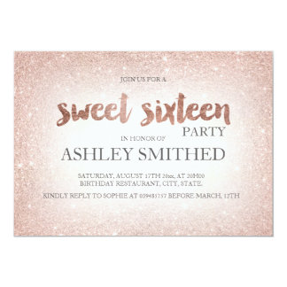 Rose gold glitter ombre chic modern Sweet 16 Card