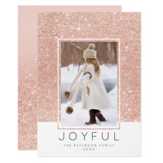 Rose gold glitter ombre Joyful photo Christmas Card
