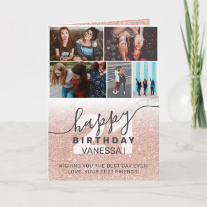Rose gold glitter ombre marble birthday photo grid card