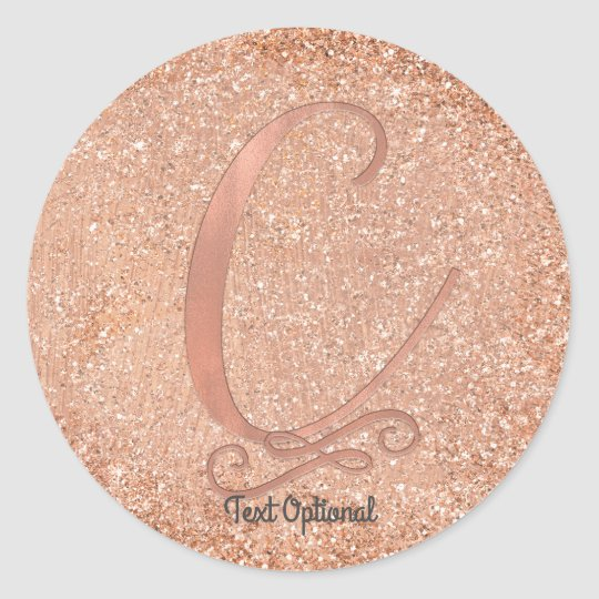 Rose Gold Glitter Personalised Initial Letter C Round