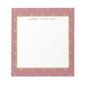 """Rose Gold & Glitter Personalized Notepad 5.5"""" x 6"""""""