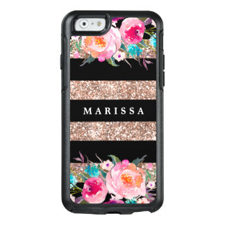 Rose Gold Glitter Pink Floral Black Stripe OtterBox iPhone 6/6s Case