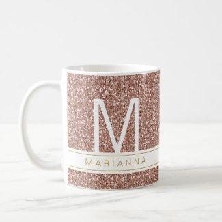 Rose Gold Glitter Pink Girly Monogram Custom Name Coffee Mug