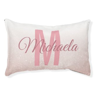 Rose Gold Glitter Pink Girly Monogram Initial Pet Bed