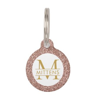 Rose Gold Glitter Pink Sparkle Pretty Girly Pet ID Tag