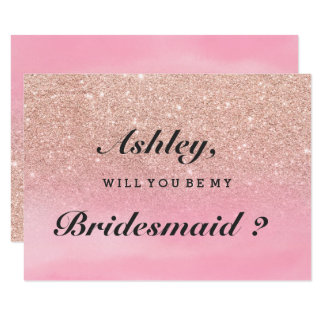 Rose gold glitter pink watercolor be my bridesmaid card