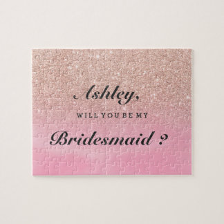 Rose gold glitter pink watercolor be my bridesmaid jigsaw puzzle