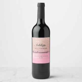 Rose gold glitter pink watercolor my bridesmaid wine label