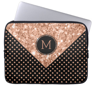 Rose-Gold Glitter & Polka Dots Geometric Design Laptop Sleeve