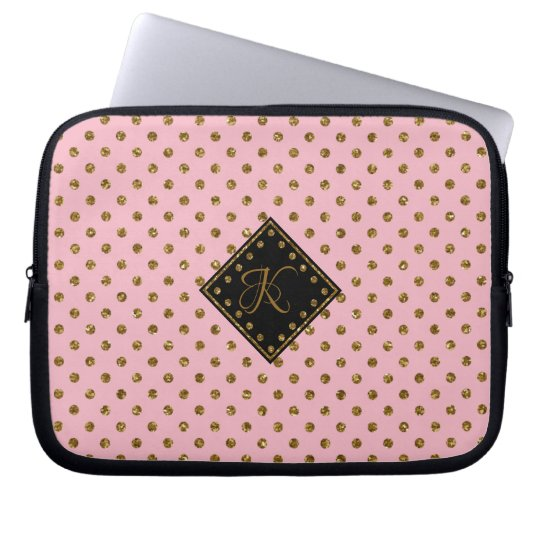 Rose Gold Glitter Polka Dots Pattern Monogrammed/ Laptop Sleeve