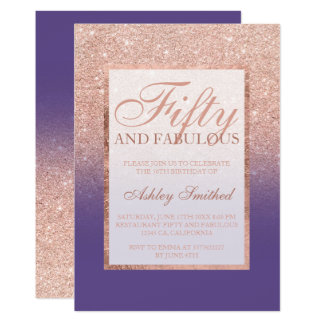 rose gold glitter purple chic fifty fabulous card