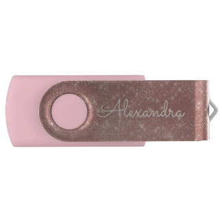 Rose Gold Glitter Sparkle Monogram USB Thumb Drive