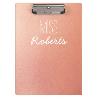 Rose Gold Glitter Teacher Customisable Clipboard