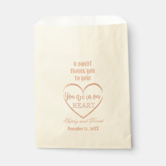 Rose Gold Glitter THANK YOU TO YOU Wedding Custom Favour Bags