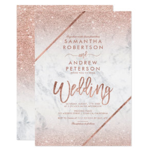 Rose gold glitter typography marble wedding invitation