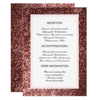 Rose Gold Glitter Wedding Information Guest Card